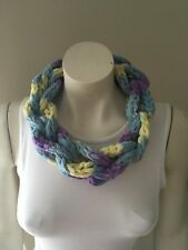 NecklaceFinger Knitted Scarf Braided Chain Handmade Jewellery Blue Yellow Purple