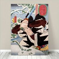 "Awesome Japanese SAMURAI SWORD FIGHT Art CANVAS PRINT 24x18""~ Kuniyoshi  #240"