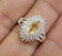 Solid 925 Sterling Silver Citrine CZ Gemstone Anniversary Gift Ring Size 6.25US