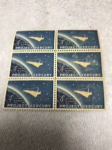 1962 Block Of (6) Project Mercury 4-Cent U.S. Postage Stamps, Original-Not Repo