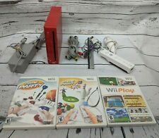 Nintendo Wii Limited Edition Red Console Bundle w/ 3 Games TESTED! Fast Shipping