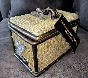 Decorative Wicker Bamboo Resin Box w/Lid Palm Tree handle NWT - $173.00 MSRP