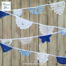 Encaje Vintage Bordado empavesado Crochet Estilo Bebé Azul Blanco Vivero Náutica