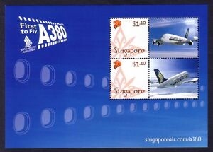 Singapore Airlines A380 Aircraft First Flight to Sydney Miniature Sheet Stamps.