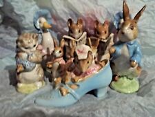 8 LOT 1955 BP-2A GOLD OVAL BEATRIX POTTER FIGURINES PETER RABBIT ETC ~ AS IS