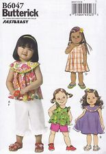 Butterick Sewing Pattern Very Easy Toddlers' Top Dress Shorts Pants B6047