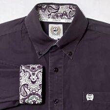 CINCH Men's Long Sleeve Flip Cuff Button Front Shirt Paisley Purple White Sz XS