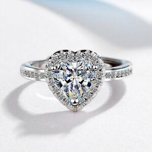 925 Sterling Silver Designer Heart Stone Adjustable Ring Womens Girls Jewellery