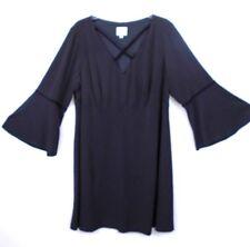 1df9f325d09 BEYOND by Ashley Graham Plus Size Velvet Crisscross Black Dress 18W Bell  Sleeves