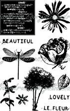 EcoGreen Recycled Rubber Art Stamp Set  PETAL PARTY Flowers ~ 11 Stamps  ~ 04309