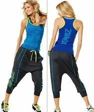 ZUMBA 2 Pc.SET! HAREM HipHop DANCE FITNESS Capri Pants & Racerback Top Tank S, M