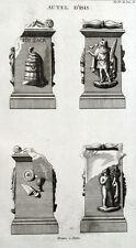 Statua Altare Religione di Isis Egitto Montfaucon Antico - Incisione XVIII