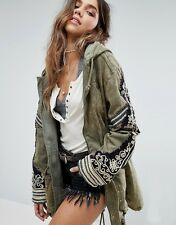 ო free people ϕ nwt small golden quills military parka in moss ꊛ sold out $298