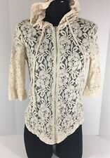 Staring At Stars Urban Outfitters Size Small Beige Lace Zip Trendy Hoodie Jacket