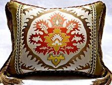 Luxury Silk Lampas Ikat Quadrille fabric. Designer accent Pillow W/ insert