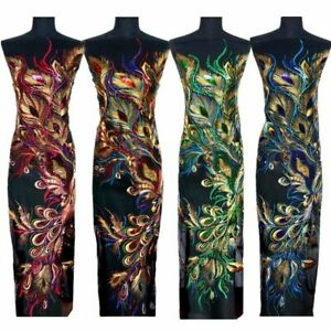 10PCS Peacock Feathers Phoenix Sequined Mesh Embroidered Sew Iron Patch Applique