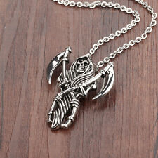 Silver Skeleton Grim Reaper Sickle Surgical Stainless Steel Pendant Necklace
