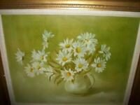 FLORAL DAISY OIL PAINTING CARVED GILT WOOD FRAME GREAT GREEN COLOR MID CENTURY