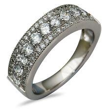 18Carat White Gold 1.00 Carat Diamond Millgrained Half Eternity Ring 6.0mm wide