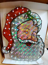 "Lighted Santa Claus Christmas Decoration Holiday Living 18"" Holographic Santa"