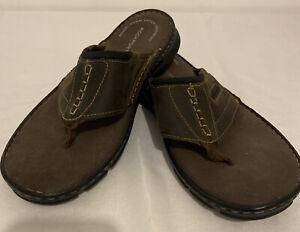 ROCKPORT Brown Leather Slip On Flip Flop Sandals Mens Size 10 New