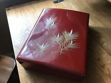 Vintage Japanese Lacquerware Box. Red with Gold Pine Tree Motif