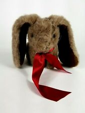 """Vintage Applause Plush Bunny Rabbit 10""""  brown tan Long Ears red Bow 1988"""
