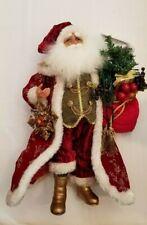 "Karen Didion 15"" Light-Up Santa Claus Christmas Decoration Red/Gold New"