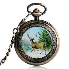 Xmas Vintage Bronze Reindeer Men Women Pocket Pendant Watch Mechanical Hand Wind