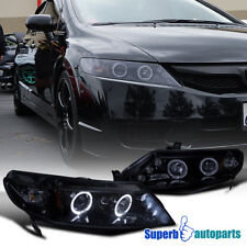 For 2006-2011 Civic 4D Led Dual Halo Projector Headlight Glossy Black / Smoke