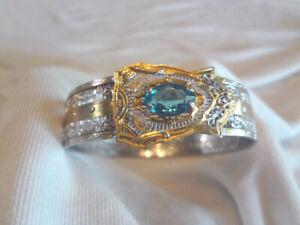 Fabulous Early Art Deco Filigree Bangle Bracelet With Blue Stone By JJ White