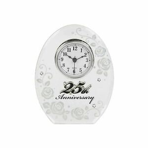 25th Wedding Anniversary Mirror and Clock Gift by Shudehill giftware