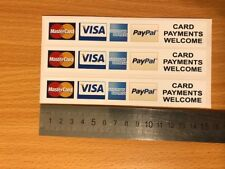 3 x Card Payments Credit Card Stickers Vinyl Shop Taxi VISA Mastercard Amex