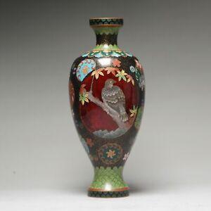 Top Quality 19c Antique Meiji Period Japanese Bronze Cloisonne Vase