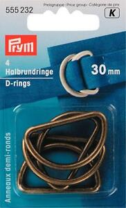 Prym Semicircular Rings 30 MM Old Brass 4 Piece 555232