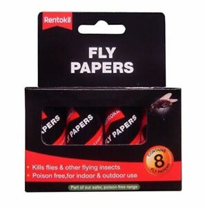 RENTOKIL STICKY FLY PAPERS INDOOR/OUTDOOR USE 8 PACK  FF40 Pesticide Free