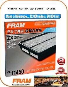 FRAM CA11450 Engine Air Filter For NISSAN L4 2.5 Lts 13-18 ALTIMA 49073 AF6297