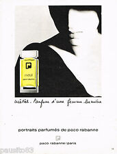 PUBLICITE ADVERTISING 065  1984  PACO RABANNE parfum femme  METAL