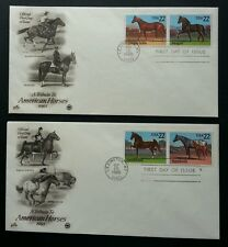 USA Horses 1985 Animal Fauna Mammals Games (FDC pair)