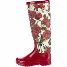 DOLCE & GABBANA Red Floral Rain Boots Wellington Wellies - size UK 4