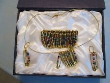 """Bracelet(adjustable), Earring(2 1/4""""drop) Necklace set handmade with safety pins"""