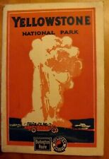 VTG 1926 YELLOWSTONE NATIONAL PARK BROCHURE MAP BURLINGTON NORTHERN PACIFIC RR
