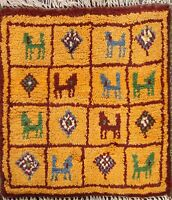 Tribal Geometric Authentic Gabbeh Hand-knotted Area Rug Plush Wool Oriental 1x1