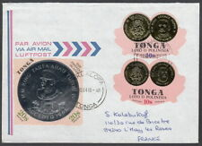 5639 - TONGA1984 SPECIAL ANNIVERSARY COIN ON COVER NUKUALOFA TO FRANCE