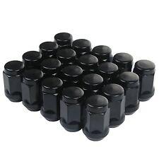 "20 Black 1/2-20 Acorn Lug Nuts Wheel Closed End  Cone Seat 3/4"" 19mm Hex 35mm L"