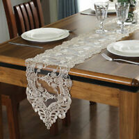 Embroidery Floral Lace Table Runner Wedding Banquet Party Home Table Decoration