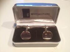 Bride Groom Silver Plated Cuff Links By White Brothers, In Case