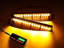 """34"""" 32 LED Emergency Warning Strobe Visor Split Deck Dash Light Bar Amber Yellow"""