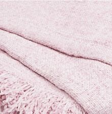 Pale Pink Chenille Soft Touch Throw Blanket 130cm x 180cm