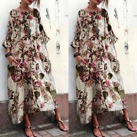Vintage Femme Oversize Floral Manche 3/4 Casuel Loose Longue Robe Maxi Plus